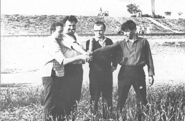 На Турецькому Валу. М.Братан, М.Кулик, В.Зленко, В.Пузиренко. 1965 р.